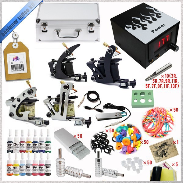 ФОТО Top 2015 Complete Tattoo Kit 4 Guns Sets Rotary Machine Power Supply +Ink +Power Supply +Needle + CD  for Beginners Body Art #T