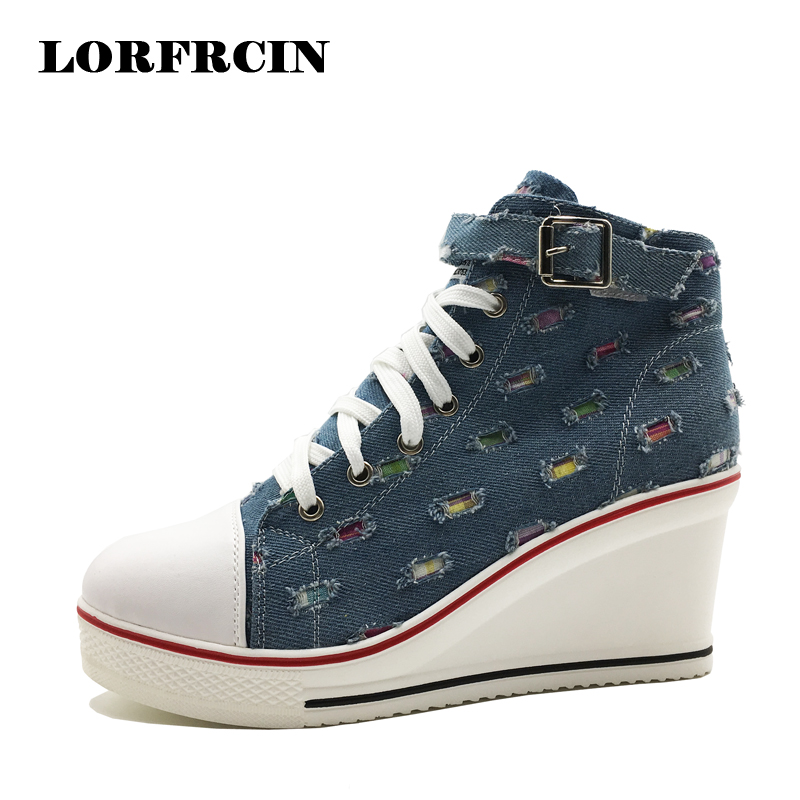 Woman Canvas Shoes High Top Elevator Platform Shoe Plus Size 35-42 Height Increasing wedges Casual Shoes Woman Trainers LORFRCIN