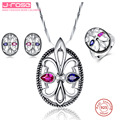Jrose Vintage Jewelry Sets  & Red Earrings Ring Chain Necklace Sterling Silver 925 Women Cocktail Party Jewellery Set