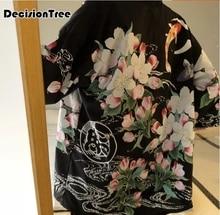 цена на 2019 men cotton linen kimono china style kongfu coat male loose kimono cardigan overcoat male beach kimono floral print