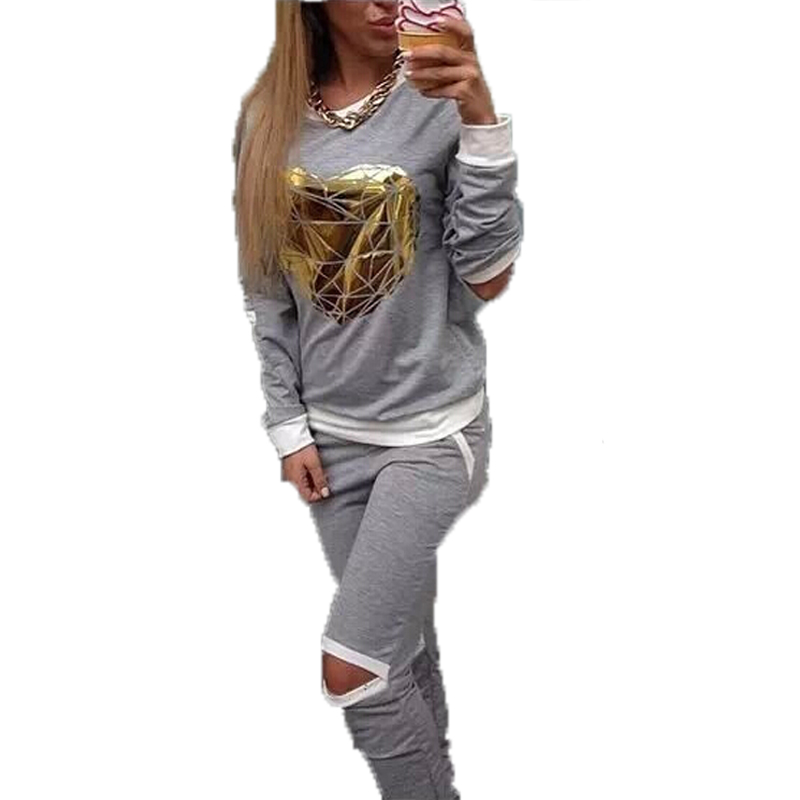 Fall Winter Women Sportswear Two Piece Set Gold Heart Printed Hollow Out Sweatshirt Pant Track Suit Female Tracksuit Twinset