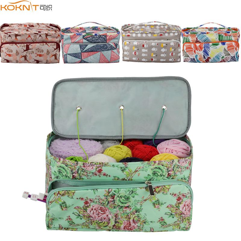 KOKNIT 12 Styles Knitting Bag Organizer Yarn Storage Case For Crocheting Hook Knitting Needles Wool Storage Tote Bag For Women