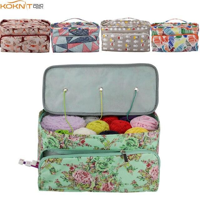 KOKNIT 12 stilleri örgü çanta düzenleyici iplik saklama kutusu Crocheting için kanca örme İğneler yün saklama kutusu çanta kadınlar için