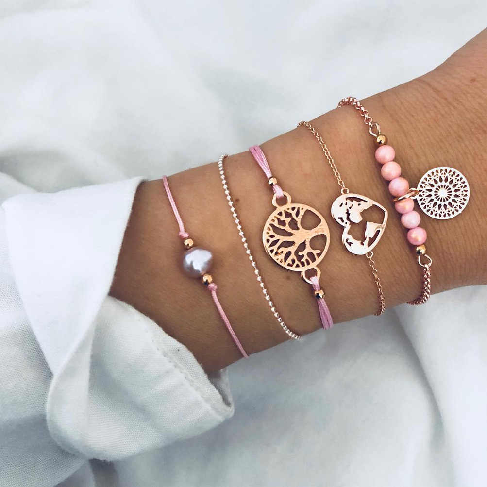 Bohemian Geometry Bracelets Bangles Set Vintage Multilayer Charm Cuff Bracelet for Women 2019 Fashion Jewelry