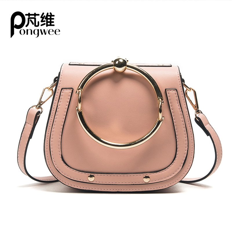 PONGWEE 2017 New Tide Messenger Bag Korean Version Of The Wild Saddle Bag Round Handbag Shoulder Bags 2018 new female korean version of the bag with a small square package side buckle shoulder messenger bag packet tide