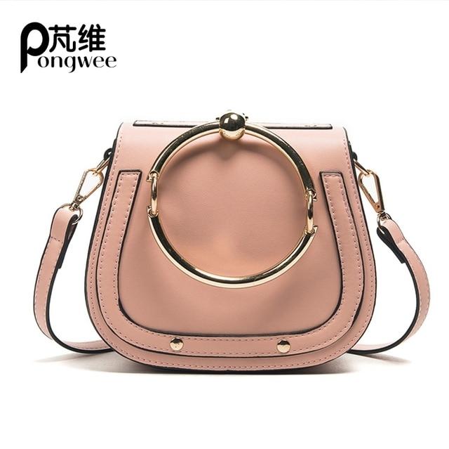 PONGWEE 2017 New Tide Messenger Bag Korean Version Of The Wild Saddle Bag Round Handbag Shoulder Bags