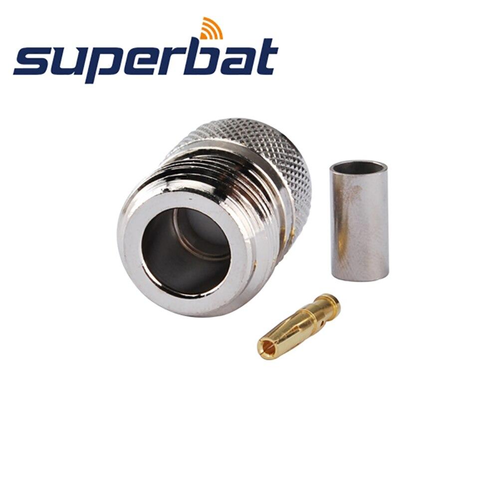Superbat  10 Pcs RF Connector N Crimp Jack Female For RG58 RG142 RG400 LMR19 Cable Free Shipping