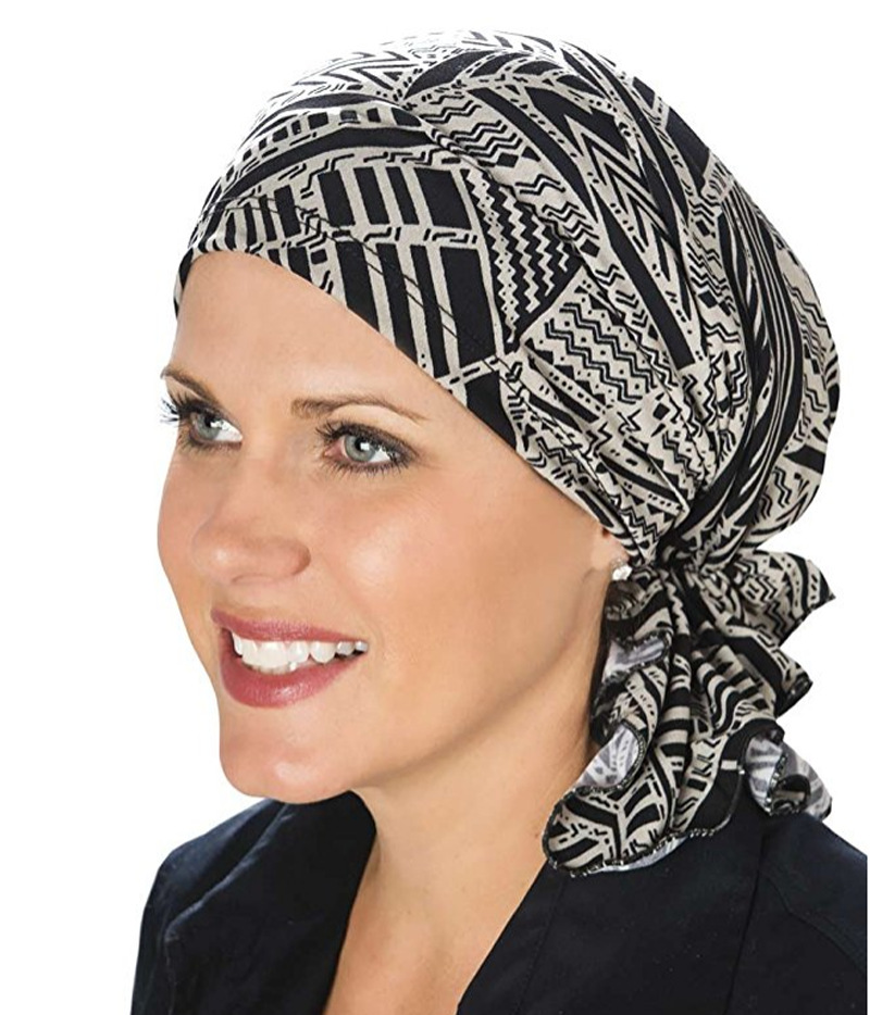 New Muslim Women Floral Stretch Cotton Scarf Turban Hat Chemo 