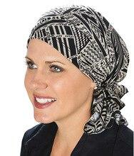 มุสลิมใหม่ผู้หญิงดอกไม้ยืดผ้าพันคอผ้าพันคอTurbanหมวกChemo BeaniesหมวกHead Wrap Headwearสำหรับมะเร็งผมร่วงอุปกรณ์เสริม