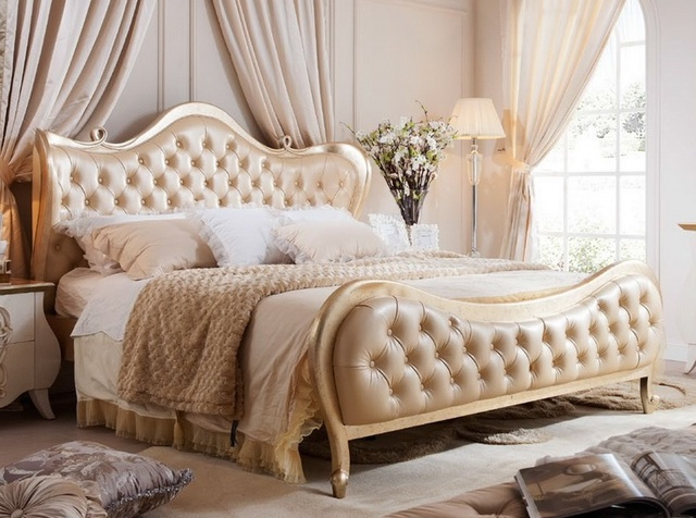 Neoclical Modern Style King Bed European Princess Champagne Color