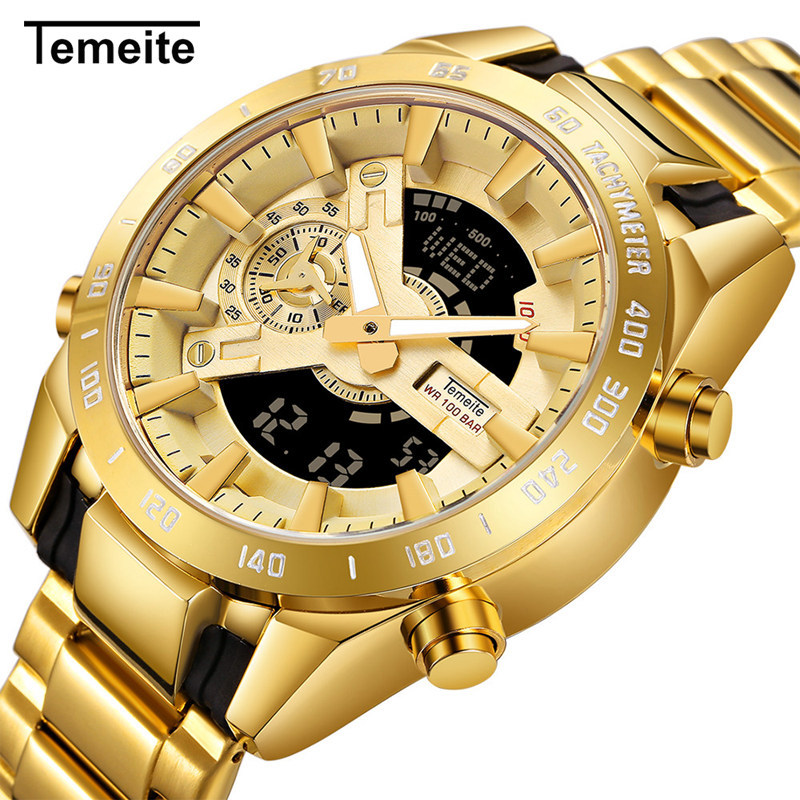 TEMEITE Mens Watch Top Brand Luxury Gold Watches Men LED Dual Display Waterproof Quartz Watch Wristwatch Male Relogio Masculino