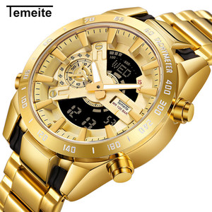 TEMEITE Mens Watch Top Brand Luxury Gold