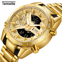 Temeite Brand Gold Mens Watches Sport Watch Men LED Dual Display Wristwatch Male Water Resistant Luminous Relogio Masculino