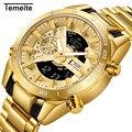 Temeite relógio masculino marca de luxo relógios ouro led dupla exibição à prova dwaterproof água relógio quartzo relógio de pulso masculino relogio masculino