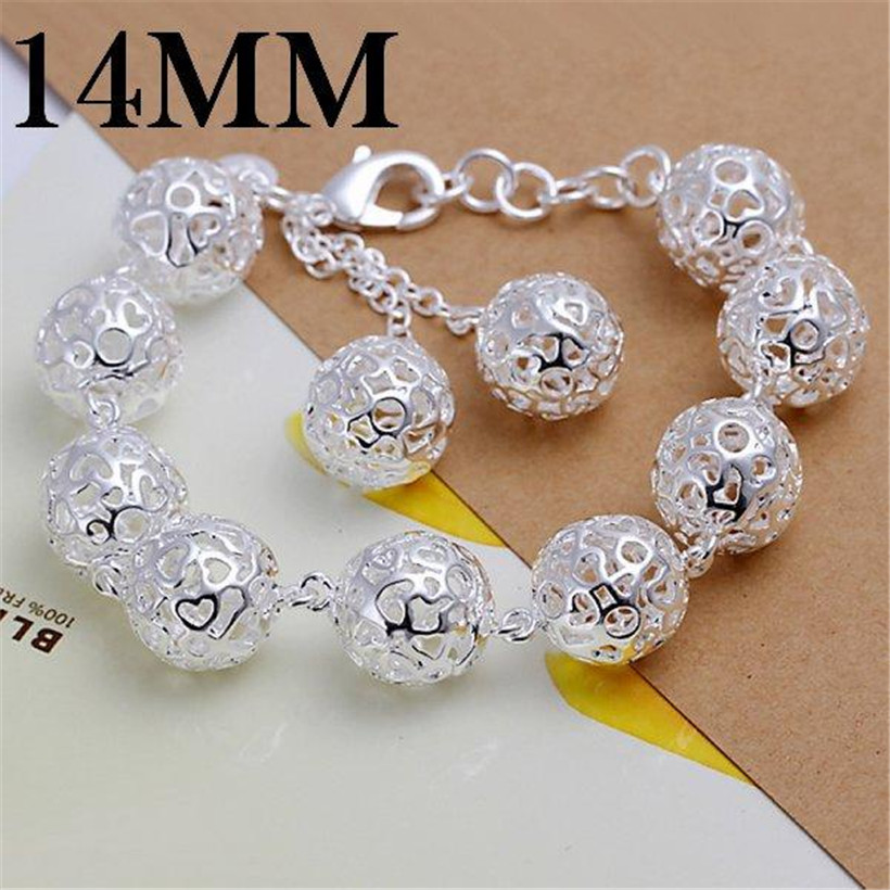 Jewelry & Accessories Apprehensive Hot Charm Fashion Silver Plated Fine 14mm Ball Hollow Beads Bracelet For Woman High Quality Elegant Jewelry Wholesale H088