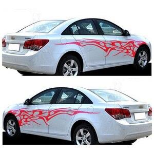 Image 1 - 1 쌍 화재 불꽃 자동차 스티커 및 데칼 전체 바디 자동차 비닐 2.2m 빨 수있는 자동 스타일링 자동차 액세서리 3 색