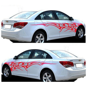 Image 1 - 1 Pair Fire Flame Car Stickers and Decals Whole Body Car Vinyl 2.2m Washable Auto Styling Car Accessories 3 Colors