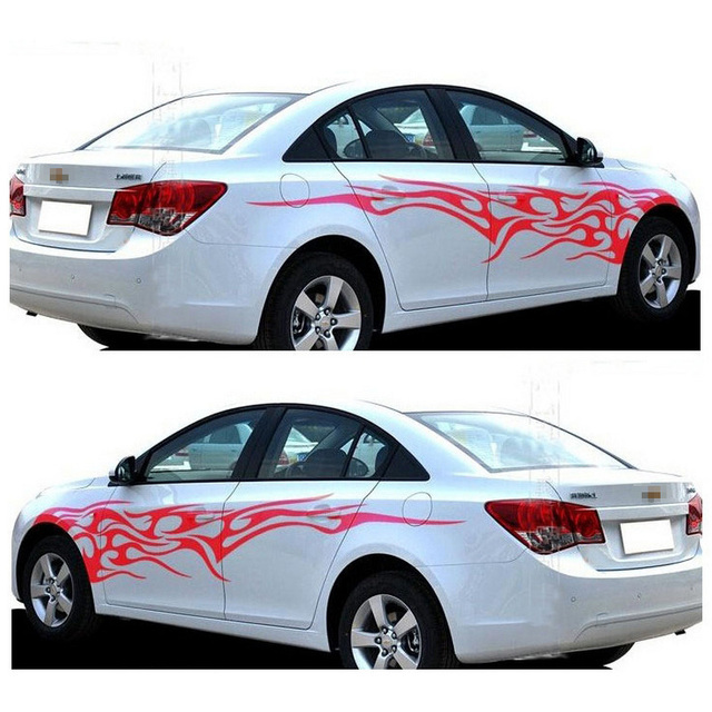 1 Pair Fire Flame Car Stickers and Decals Whole Body Car Vinyl 2.2m Washable Auto Styling Car Accessories 3 Colors