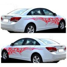 1 زوج النار لهب ملصقات السيارات والشارات الجسم كله سيارة الفينيل 2.2 متر قابل للغسل السيارات التصميم اكسسوارات السيارات 3 ألوان