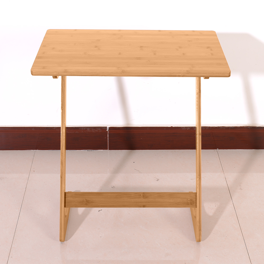 Z-shaped Bamboo Side Table Wood Color Dropshipping dropshipping