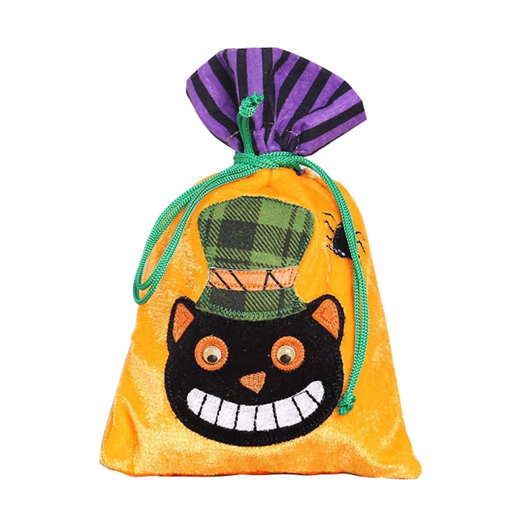 Pumpkin Microfiber Grocery Tote Cartoon Cat Halloween Shopping Bag Shoulder School Bag Candy Collecting Bag Gift Bag DIY Decor