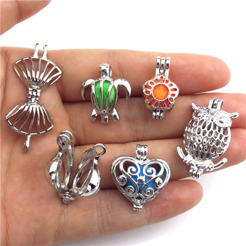 #1-9X//set Alloy Bead Pearl Cage Butterfly Shell Turtle Owl Heart Silver Locket