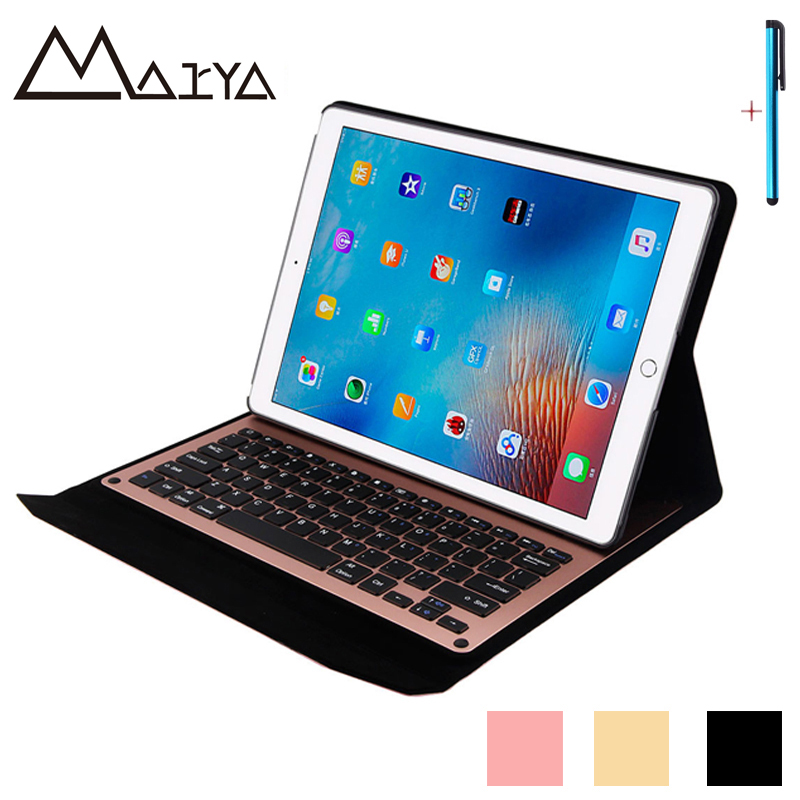 Keyboard For iPad Pro 12.9 Case Tablet Removable Wireless Bluetooth Aluminum With Synthetic PU Leather Protective Cover12.9 inch for ipad pro 9 7 2016 wireless bluetooth keyboard case for ipad pro 9 7 2016 aluminum alloy tablet flip stand cover stylus