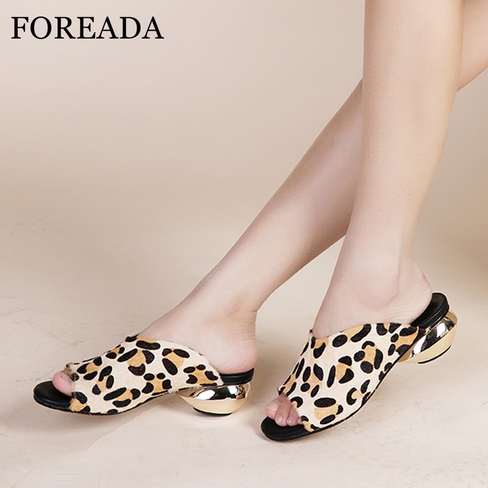 FOREADA Women Shoes Summer Slippers Horsehair Strange Style Heels Shoes Leopard Peep Toe Slides Ladies Sandals Sliver Size 33-42