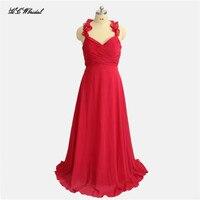 背中の開いた赤いロング花嫁介添人ドレス2018ホルターaラインの床長さプリーツシフォンメイドの名誉ドレス安いウェディングパーティーガウン