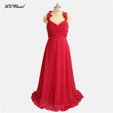 Backless Red Long Bridesmaid Dresses 2019 Halter A Line Floor Length Pleat Chiffon  Maid Of Honor 9a9af094cf47