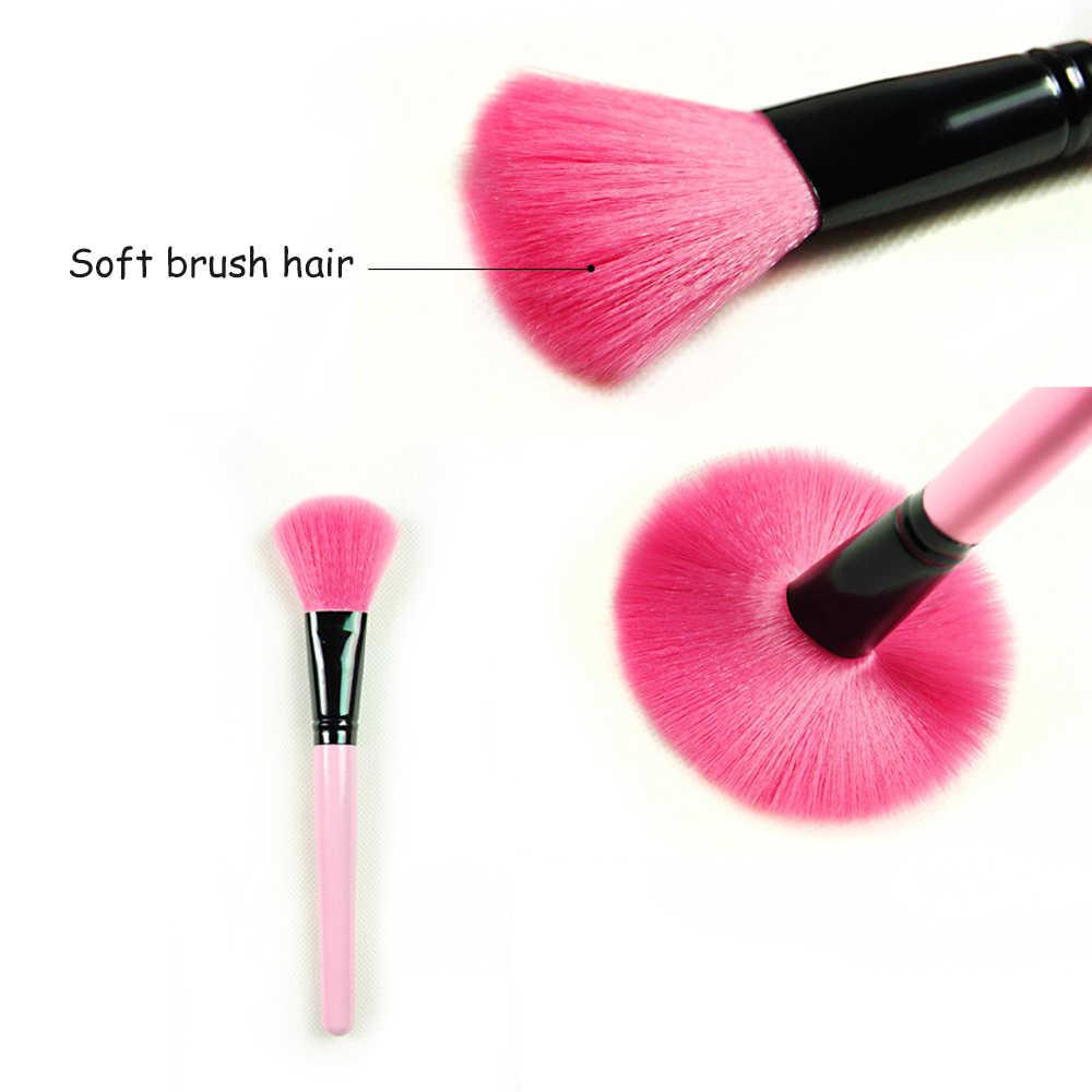 15pcs יופי ורוד איפור מברשות עם רול תיק קייס קרן אבקת גבות שפתון מברשות pincel maquiagem מברשות קיט