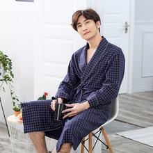 Robe Mens spring and autumn Modelscha thin long-sleeved pajamas bathrobe male long home clothes