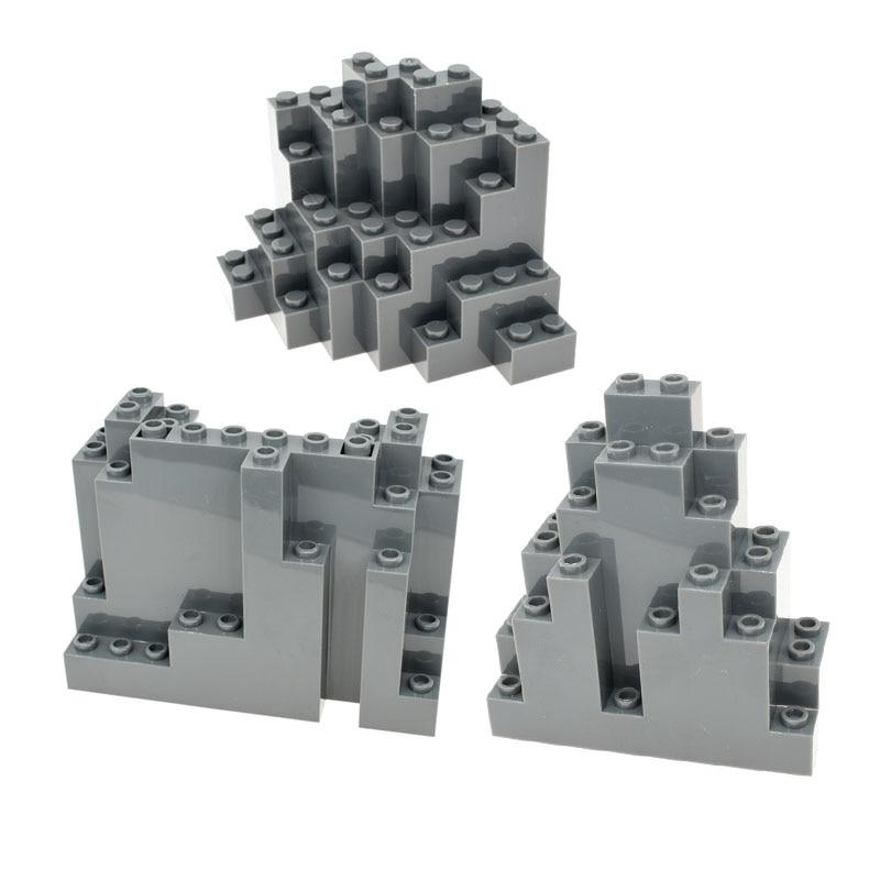 1-10 Uds MOC Panel de roca de ladrillo de montaña Rectangular 4x10x6 bloques eBuilding parte de ladrillo Juguetes DIY Compatible con 6082 6083 GOROCK ensamblar bloques de construcción grandes de autobús montar ladrillos clásicos juguetes de bricolaje regalo de bebé Compatible con aviones LegoINGlys duplie