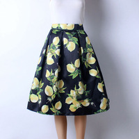 High Quality Cute Colorful Lemon Design Pattern Knee Length Satin Skirts For Women 2016 Black White