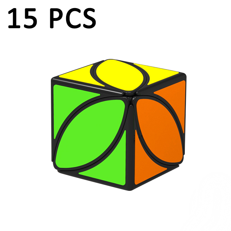 QiYi FengYe feuille D'érable Coloré autocollant Étrange-forme Magic cube Puzzle cube Éducation Jouets Classique Jouets Neo Cube Noir 15 pcs