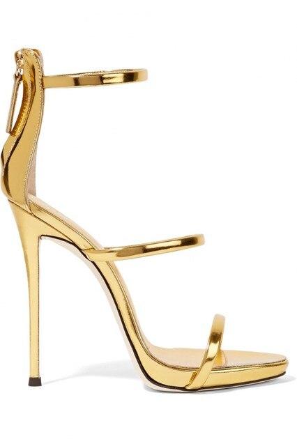 4cb0727fa22 New fashion gold metallic leather ankle strap high heel sandal summer open  toe cutouts sandal woman thin heels gladiator sandal