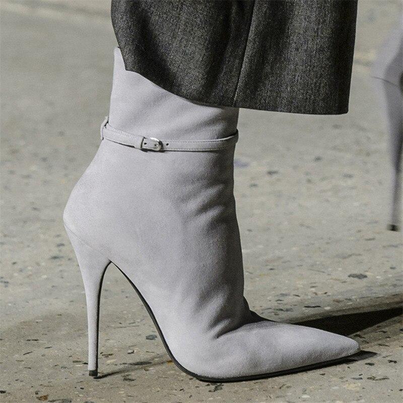 2019 As Femme De Pompes Chaussures as Défilé Boucle Haut Femmes Talons Bottines Date Ceinture Pointu Pic Bout Pic Stiletto Mode Chaussons POZTzw1qn
