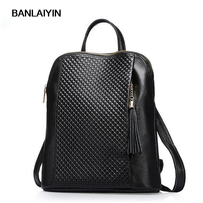Nice New Casual Girls Backpack Genuine Leather Fashion Women Backpack School Travel Bag Teenagers Girls Cowhide Shoulder Bags 2018 new casual girls backpack pu leather 8 colors fashion women backpack school travel bag with bear doll for teenagers girls page 7