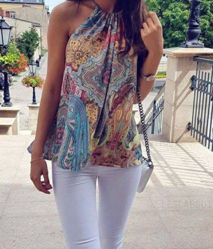Women Summer Floral Vest Sleeveless Halter Vest Casual Loose   Tank     Tops