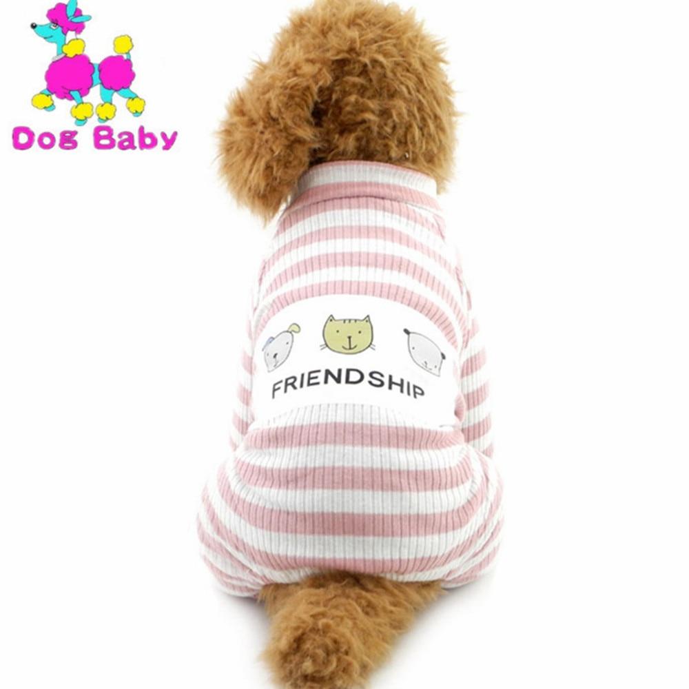 DOGBABY Új csíkos háziállatok kapucnis pulóverek 100% pamut lágy négy lábak Jumpsuits Tavaszi őszi szabadidő kabát ruhák kis nagy kutyáknak