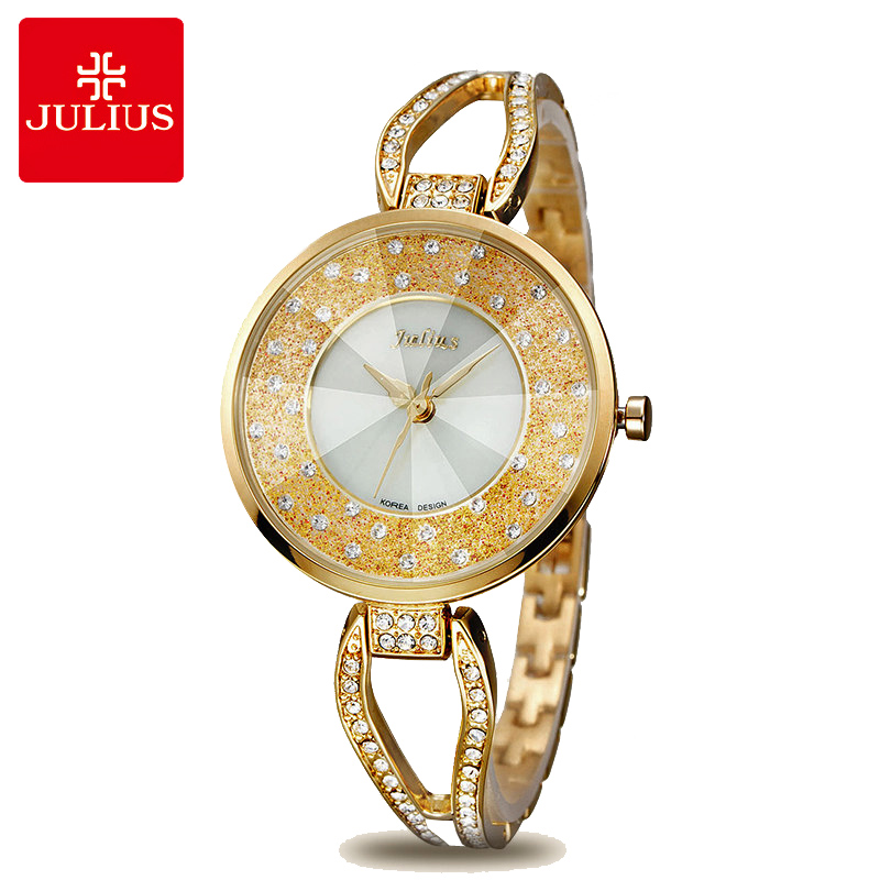 Crystal Rhinestone Shell Lady Kvinders Ur Japan Quartz Timer Clock Fine Fashion Kjole Chain Armbånd Pige Gave Julius Box