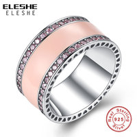 ELESHE Real 925 Sterling Silver Radiant Hearts Light Pink Enamel Clear CZ Wide Band Silver Ring