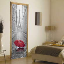 Door Stickers Home Decor Sticker 3d Rainy Umbrella Theme 77x200cm Mural Decal Bedroom Decoration Wall Sticker