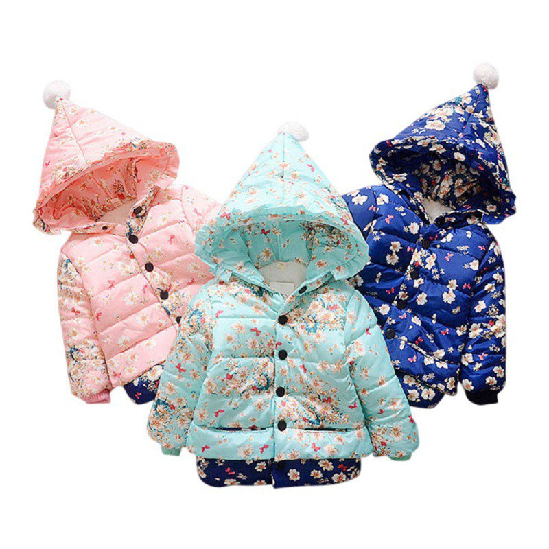 2017 Autumn Winter Baby Girls Jacket Cute Girls Infant Flower Print Coat Kids Children Warm Outerwear Coats Girls Lace Clothes 2017 winter baby coat kids warm cotton outerwear coats baby clothes infants children outdoors sleeping bag zl910