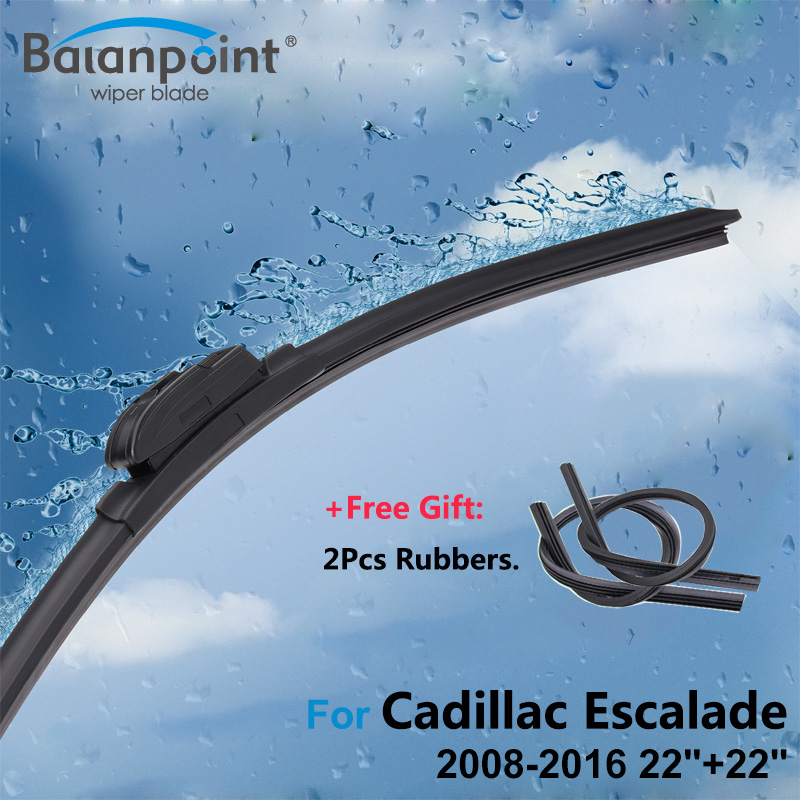 2Pcs Wiper Blades + 2Pcs Soft Rubbers for Cadillac Escalade 2008-2016 22+22, Windshield Wipers Replacement