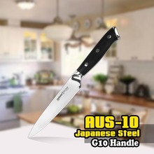 SS-0021 5 Inch (125mm) Utility Knife 3 Layers AUS-10 Japanese Steel Black G10 Handle Kitchen Blade Chef Peeling Slicing