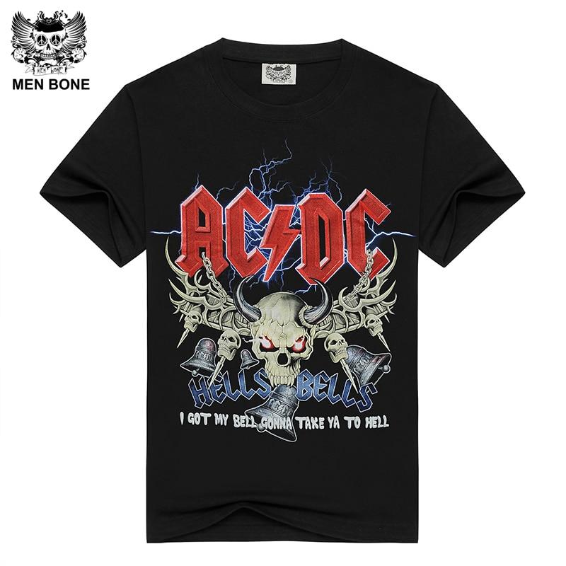 [Men bone] Men's Black   T  -  shirt   ACDC HELLS BELLS Print Cotton   T     shirts   for men Summer brand clothing power heave metal rock