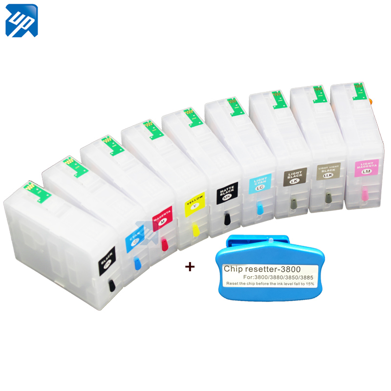 9pcs compatible refillable ink Cartridge empty Refillable Ink Cartridges For epson 3880 pro3880 with chip free