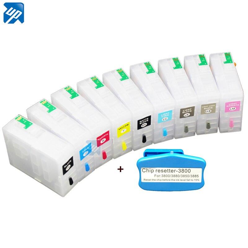 9ピース互換詰め替えインクカートリッジ/空詰め替えインクカートリッジ用エプソン3880 pro3880チップと送料無料  グループ上の パソコン & オフィス からの インクカートリッジ の中 1