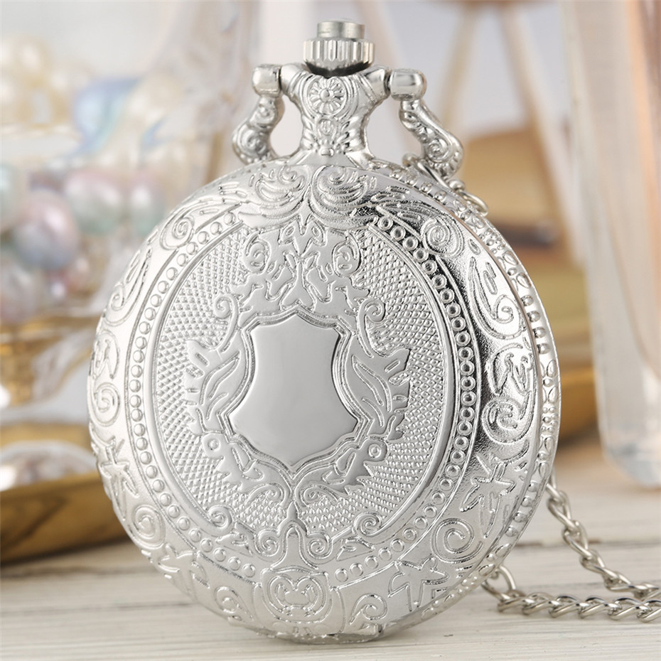 Exquisite Retro Fashion Pendant Pocket Watch With Silver Necklace Chain Free Drop Shipping